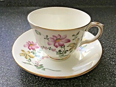 Vintage Crown Staffordshire Floral Tea Cup & Saucer. Fine Bone China, England