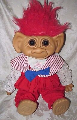 Vintage Troll Girl Doll w/ Dimple Rub My Hair for Good Luck ! Toy Uneeda 48CmT