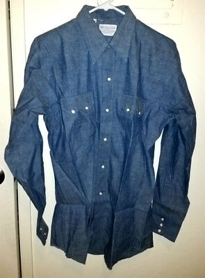 Deadstock Vtg CABLE CAR CLOTHIERS SF Denim CHAMBRAY Shirt W/SAW-TOOTH POCKETS