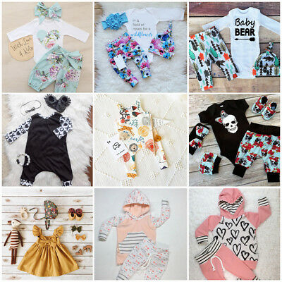 Newborn Kid Baby Boys Girls Long Jumpsuit Romper Bodysuit Cotton Clothes Outfits