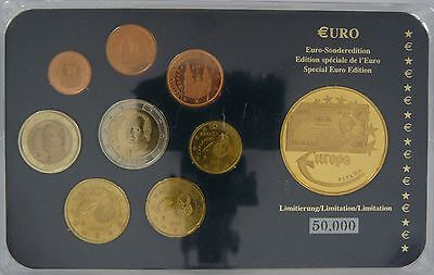 Spanien 1999 - 2004 Euro KMS 3,88 Euro Sonderedition Blister incl. Medaille PP