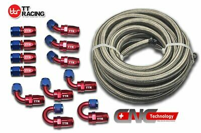 AN10 -10AN AN-10 Fitting Swivel Stainless Steel Braided Fuel Line Hose 30FT Kit