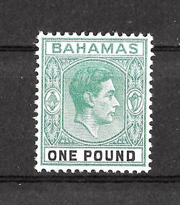 BAHAMAS 1938-1952 Mint NH £1 Grey Green & Black KV SG #157 Unchecked for Type VF