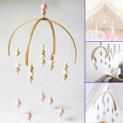 Lovely Baby Crib Mobile Bed Bell Toy Holder Wooden Beads Nordic Style Home Gift
