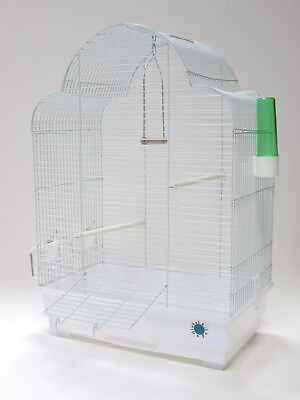 Elsa Large Metal Bird Cage for Budgie Canary Tray Perch Feeder - White or Chrome