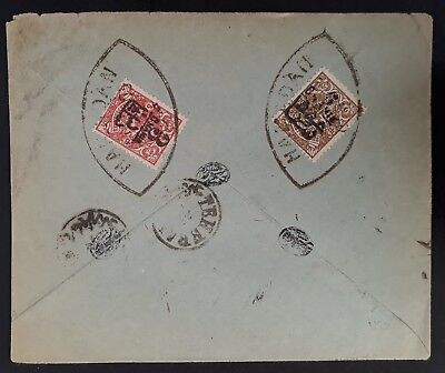 VERY RARE c. 1905 Persia Cover ties 2 surch Coat of Arms stamps canc Hamadan