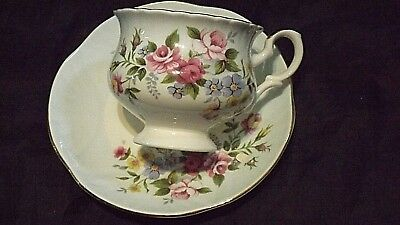 Crown Staffordshire China Cup & Saucer, Flower Design, Light Blue & White