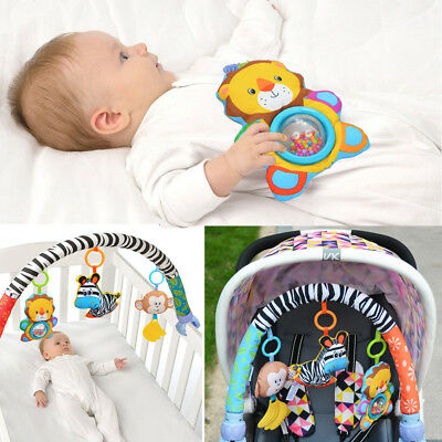 Baby Travel Play Arch Stroller/Crib Pram Activity Toy Rattle/Squeak/Teethers UK