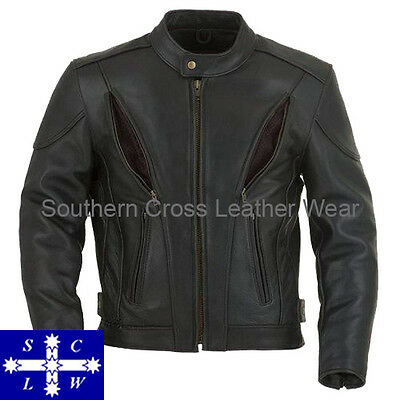 Men's Leather Motorcycle Jacket With Vents and Armour  Mk1