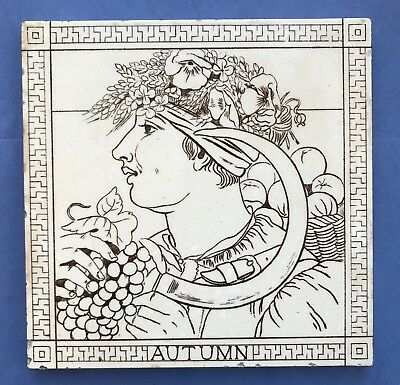 "Rare 8"" Original Antique AUTUMN printed MINTON HOLLINS Tile C1870"