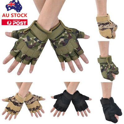 Camouflage Camo Tactical Gloves Military Army Outdoor Hunting Half Finger Gloves