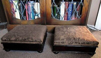 Matched Pair of Antique Victorian Footstools Bun Feet & Original Upholstery