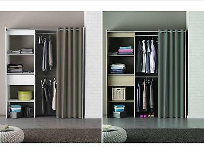 Wardrobe Extendable Storage Organiser with Curtain - Oak or White - Grey Curtain
