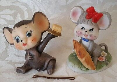 2x Vintage China Mouse / Mice Figures . Exc. Condition . Berwick Vic