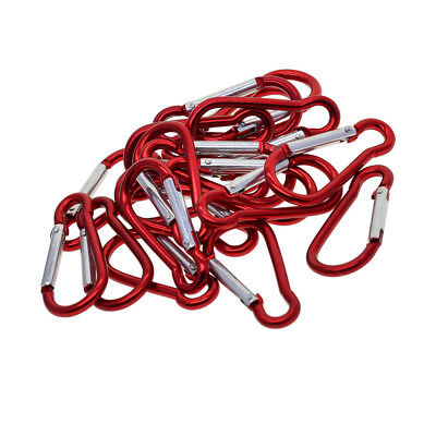 20x Aluminum Carabiner Spring Clip Climbing Hiking Hook Keychain Red