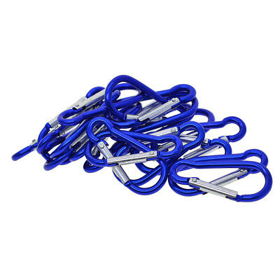 20x Aluminum Carabiner Spring Clip Climbing Hiking Hook Keychain Blue