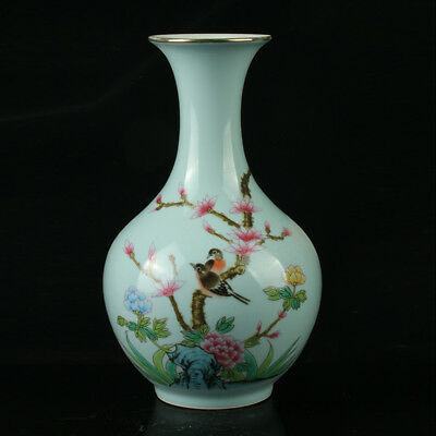Chinese Porcelain Hand-Painted Bird & Flower Vase Mark As Qianlong Period