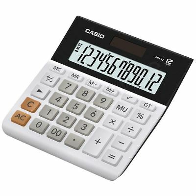 Casio MH12-WES White Wide Large DUal Powered 12 Digit Calculator New