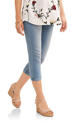 Oh Mamma Maternity Demi Panel Super Soft 5 Pocket Skinny Capri Jeans