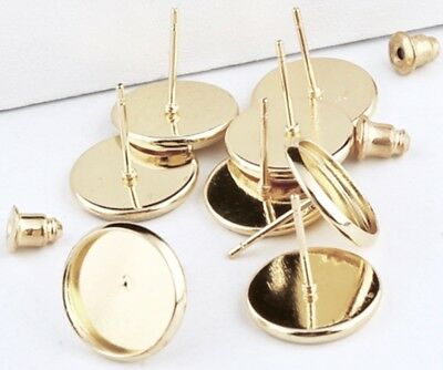 10 Pcs High Quality Gold Plated 12mm Earring Blank Bezel Base Stud with Backs