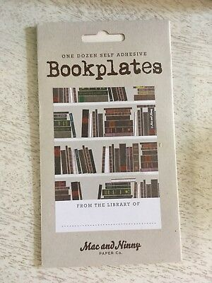 12 Self-Adhesive Bookplates by Mac & Ninny Paper Co book lover new gift teacher