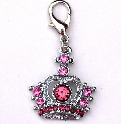 Crown Dog Charm for Dog Collars Keychain Sparkly design in Pnk red Blue green