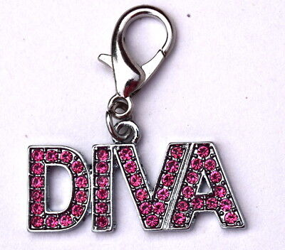 DIVA Dog Charm for Dog Collars Keychain Rhinestone Sparkly design in Pink Colour
