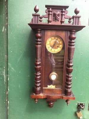 Antique-German-Viennese-Striking-Wall-Clock, with Key and Working Pendulum