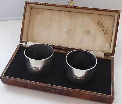 Boxed Pair Hallmarked Solid Silver Napkin Rings Serviette Ring 1940's