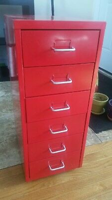 Used IKEA Helmer red metal drawer unit