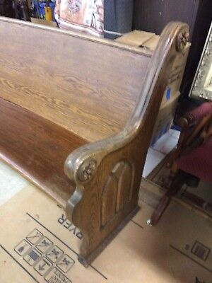 antique Curved Church Pew 9 Feet Solid Hardwood OneCarved End ,vintage ,Padded
