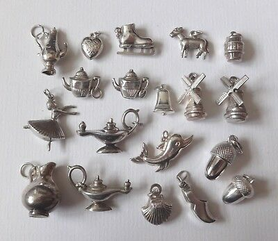 VINTAGE SILVER ASSORTED PUFFY CHARMS, ACORNS, COFFEE POT, DONKEY, OIL LAMP etc