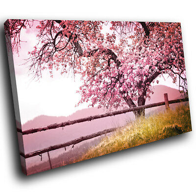 SC666 Retro Pink Tree Nature Cool Landscape Canvas Wall Art Large Picture Prints