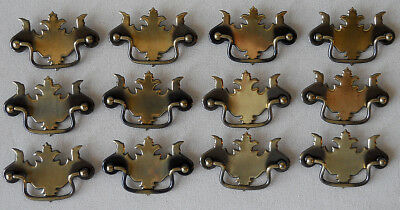 """Lot 12 Brass Antique Style Chippendale Batwing Drawer Pulls Vintage 3 3/4"""" Width"""