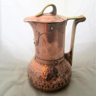 Arts & Crafts Beaten Copper & Brass Jug Antique c.1880 BLA03431