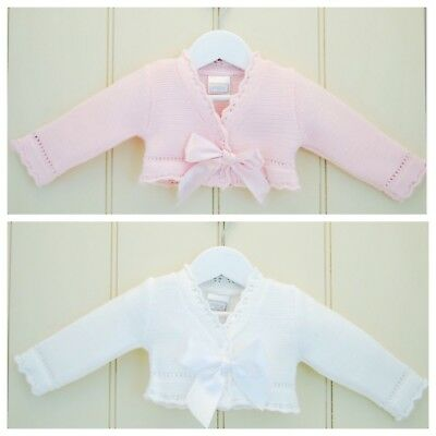 Pex Baby Girl Bolero With Bow Detail Pink /White Sizes 0-3, 3-6, 6-9, 9-12 month