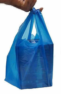 Strong Blue Large Vest Carriers Plastic Bags Shops,Takeaways,Market Stalls 100s