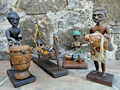 Unusual Collection Of Vintage Tribal Ivory Coast Hand Carved Figures Work/play!