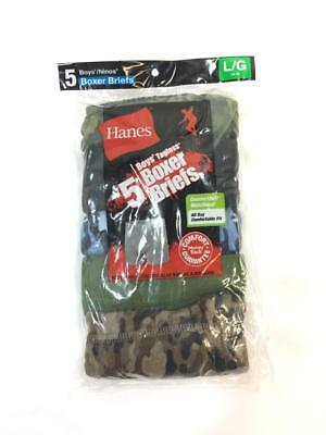 Hanes Boys Tagless Comfortable Waistband Boxer Briefs 5-Pack Multi Camo Size L