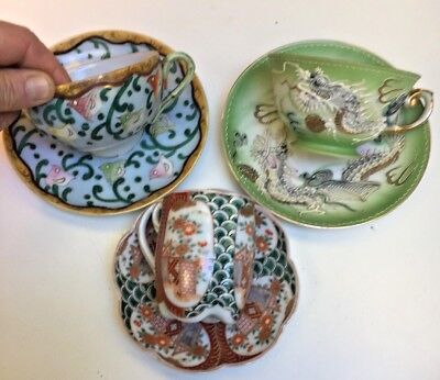 Lot 3 Antique Chinese Asian cup saucers signed hand painted Geisha Girl Cup
