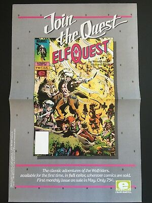Elfquest : Join the Quest Poster - Marvel/Epic 1985, 17x11 - Folded, NM