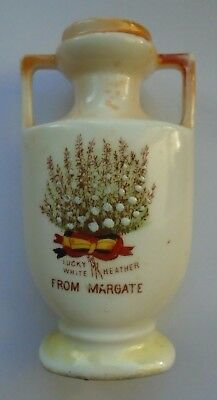 Antique Lucky White Heather From Margate Kent Gemma Marked Crested China