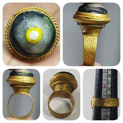 Ancient Mosaic Glass Gold Gilding Beautiful Lovely Ring   # 1E