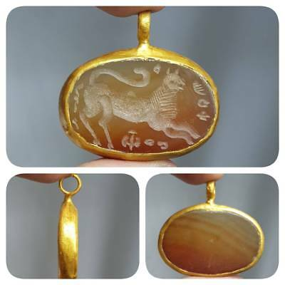 gold plated pendant With Old Stunning intaglio  Agate stone  # 1E