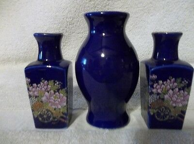 2 Small Dark Blue Bottles & 1 Small Vase