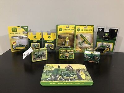 Lot of 10 John Deere Items Diecast Tractor Sign Tin Lunch Box Gas Pump Plane New