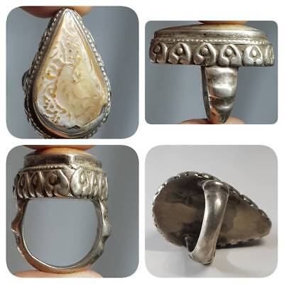 Antique Silver Ring With Unique Pearl Carved Bird in it   # 1E