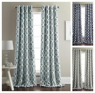 Chezmoi Collection Geometric Weave Blackout Grommet Window Curtain - 2 Panel Set