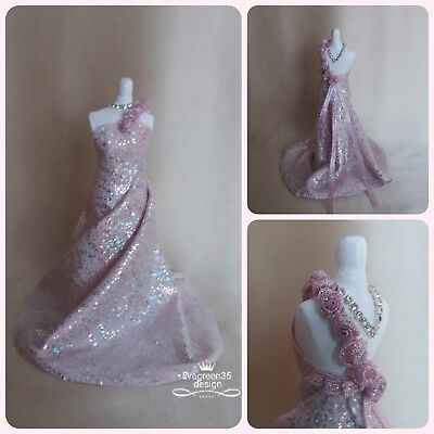 Dolls house Miniature ~ 12th/1:12 scale Evening  Gown ~ Dress ~ designed by Eva