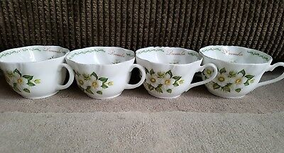 4 x QUEENS Bone china 'Christmas Rose' scalloped Tea Cups Only 'December'